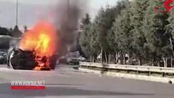 فیلم لحظه هولناک آتشسوزی یک خودرو در مشهد