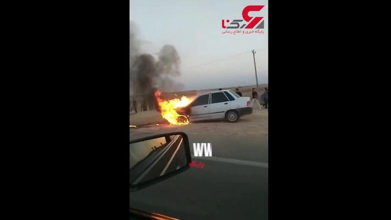 لحظه  آتش گرفتن پراید در جاده اهواز + جزییات