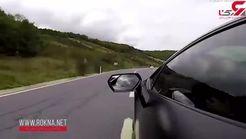 لحظه فرار معجزه آسای موتورسوار از مرگ حتمی! +فیلم