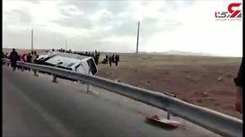 واژگون شدن اتوبوس زائران اربعین در مسیر ایلام به کرمانشاه + فیلم