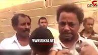اشکهای پدر یمنی بخاطر گرسنگی فرزندش +فیلم