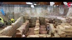 کشف یک حمام باستانی هنگام حفر زمین برای ساخت مترو+فیلم