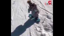 مهارت یک دختربچه خردسال در اسنوبرد سواری + فیلم