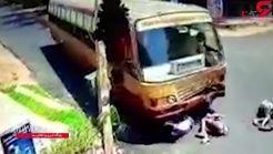 تصادف وحشتناک موتورسوار مست با اتوبوس+فیلم