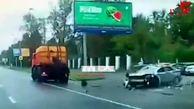 خودروی پلیس له شد/ فیلم فجیع از حادثه ای مرگبار