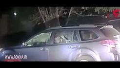 خرس گرسنه وارد خودروی گردشگران شد +فیلم