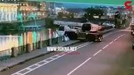 سقوط جرثقیل چند در رودخانه + فیلم