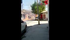 جولان کامیون با بار آتش ! + فیلم / مکزیک
