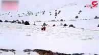 نجات کارگران معدن گانو در برف و کولاک دامغان + فیلم