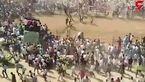حمله گاو وحشی به یک مراسم مذهبی+فیلم