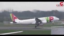 لحظه دلهرهآور پرواز هواپیما در هوای طوفانی +فیلم