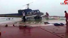 تلاش برای جلوگیری از سقوط بالگرد به دریا در سکوی پارس جنوبی+ فیلم