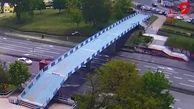 فیلم لحظه عبور ناموفق کامیون از زیر پل که یک حادثه بزرگ رقم زد