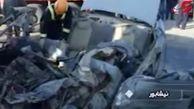 له شدن پژو آر دی زیر چرخهای کامیون با سه کشته در نیشابور + فیلم
