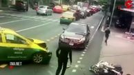 فیلم لحظه تصادف شدید موتور پلیس اسکورت