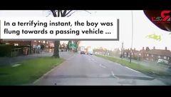 پسربچه عجول از خطر مرگ جان سالم به در برد +فیلم