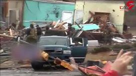 طوفان فاجعه بار کلی ساختمان را خراب کرد +فیلم