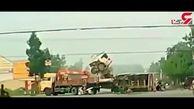 تصادف وحشتناک دو کامیون حامل بار + فیلم