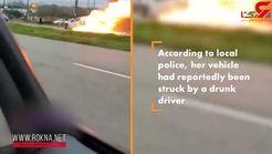 مردم راننده زن را از داخل خودروی آتشین خارج کردند + فیلم